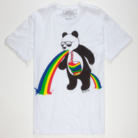 Riot Society Panda Puke Mens T-Shirt White  In Sizes