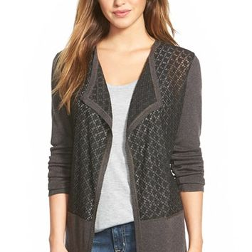Women's NIC+ZOE 'Burnt Ember' Mixed Media Cardigan,