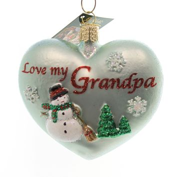 Old World Christmas GRANDPA HEART Glass Ornament Love Snowmen 30044
