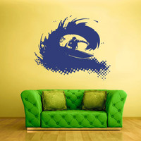 Wall Vinyl Sticker Decals Decor Art Bedroom Design Mural Surfer Surf Board Ocean Water Wave Sport Beach (z2355)