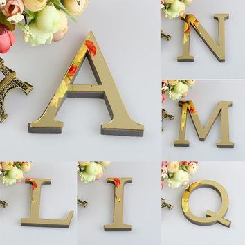 3D Mirror Acrylic Letter Wall Sticker Decals