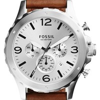 Men's Fossil 'Nate' Chronograph Leather Strap Watch, 45mm