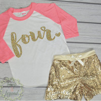 4 Year Old Birthday Shirt Girl 4th Birthday Outfit Set with Shorts Trendy Toddler Girl Gold Four Outfit Gold Sequin Shorts Raglan Shirt 102