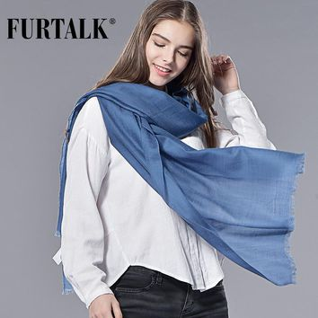 FURTALK  Spring Winter  Women 100% Wool Scarf Wool Shawl  Luxury Long Women Scarf Wool Pashmina Bandana Long