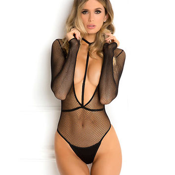 Rene Rofe Plunge Bodysuit Harness Set Lingerie 7042-BLK at BareNecessities.com