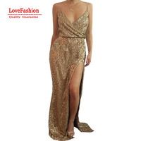 Latest Sexy Women Dress spaghetti strap Sequin Maxi Long Dresses High Split Elegant Bling Bling Desigual sexy New year dress