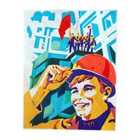 Industrial worker soviet poster art print USSR home decor Russia