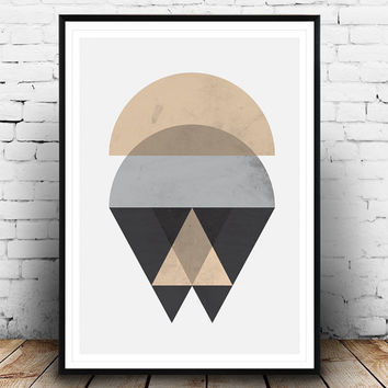 Scandinavian design, geometric abstarct, minimalist print, pink and gray, nordic style, abstract poster, geometric print, watercolor art,