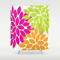 Hot Pink Lime Orange Shower Curtain CUSTOM You Choose Colors Flower Petal Burst Dahlia Pattern Bathroom Bath Polyester Made in the USA