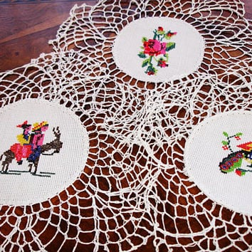 """Doilies set of 3, Vintage Needlepoint centered doilies, cottage chic decor, hand crocheted lace edging, hand made, 1950s, 9"""" round,"""