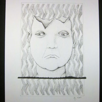 """Original 9x12 pen and ink portrait, surreal art, pen and ink drawing, black and white art, """"Petulence"""""""