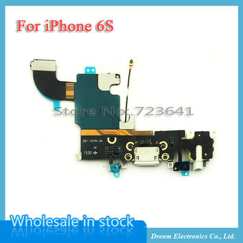 """10pcs/lot New Charging Charger Port USB Dock Connector Flex Cable For iPhone 6S 4.7"""" with Headphone Jack Mic Flex Cable Ribbon"""