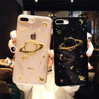 6 6S Plus Phone Case For iPhone 7 Cases Saturn Transparent Silicone Cover For iPhone 8 Covers Soft TPU glitter For iPhone X Case