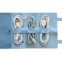 Leather Cordito Cord Wrap, Sky Blue, Wallets