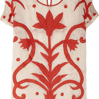 Temperley London | Francine appliquéd silk and cotton-blend top | NET-A-PORTER.COM