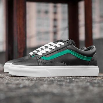 One-nice™ Vans Classic black and green all leather casual shoes