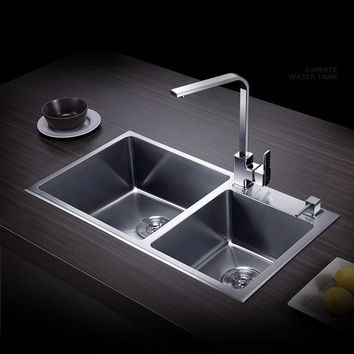 Free shipping sink double groove double bowl vegetable washing basin pots 304 stainless steel Kitchen Sinks with Soap dispenser