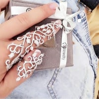 1Pc Fashion Punk Women Crystal Leaf Chain Full Finger Ring Armour Knuckle Ring