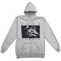 Nirvana Men's  Photo Logo Zippered Hooded Sweatshirt Grey