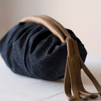 Clutch, handbag with pleats in blue denim and brown leather - Phaedra clutch