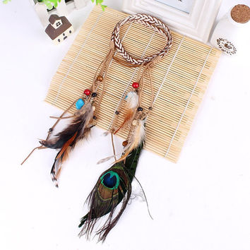 Feather Headpiece, Feathers, Tassels, Hippie, Bohemian Chic, Boho Headpieces, Coachella, Peacock Feather, Modern Tribal, Gypsy Headband