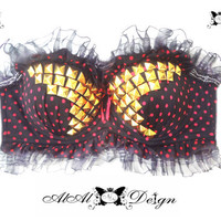 Butterfly jeweled bra   studs in handmade work by AlalNinaDesign