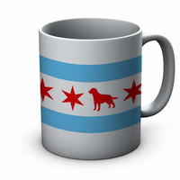Chicago Flag Labrador Ceramic Mug  - Chicago Coffee Mug - Labrador Mug - Labrador Coffee Mug - Coffee Cup - Labrador Lover gift
