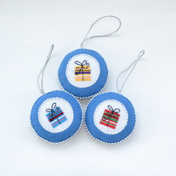 Set of Three Handmade Christmas gift decoration | Felt tree decoration | Blue cross stitch tree ornament