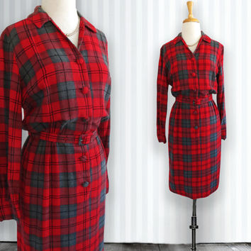 Vintage Wool Check Dress.  Vintage Dress. Red, Gray, and Black Check Pattern