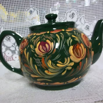 A Nice Green Glazed Stoneware Tea Pot, a Thrift Store Find, Hand  Painted in a Rosemaled, Folkart Style.
