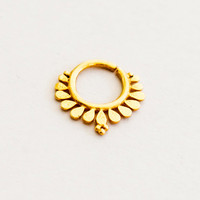 Gold Plated Septum For Pierced Nose - Nose jewelry - Septum Jewelry - Indian Nose Ring - Ethnic Septum - Septum Piercing (Code: G27)
