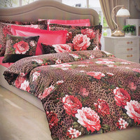 Custom Queen or Full Size Coral Pink Rose Print on Brown Cappuccino Leopard Backround, Satin Bedding Set,  6 piecess