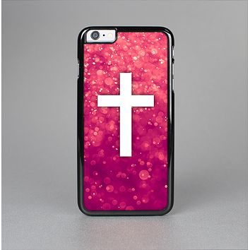 The Vector White Cross over Unfocused Pink Glimmer Skin-Sert for the Apple iPhone 6 Plus Skin-Sert Case