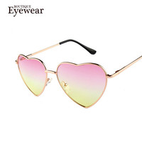 Heart Shaped Sunglasses WOMEN metal Reflective LENES Fashion sun GLASSES MEN sports Mirror oculos de sol NEW