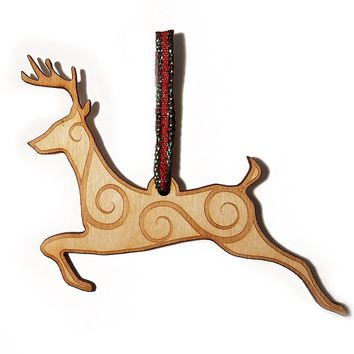 Decorated Reindeer Laser Engraved Wooden Christmas Tree Ornament Gift Seasonal Decoration