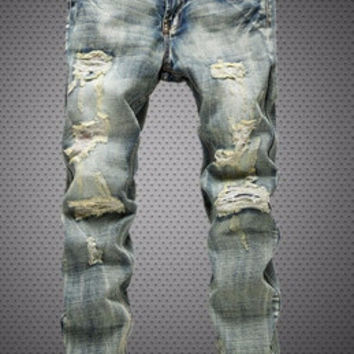 Straight Jeans Stitching Wash Jeans