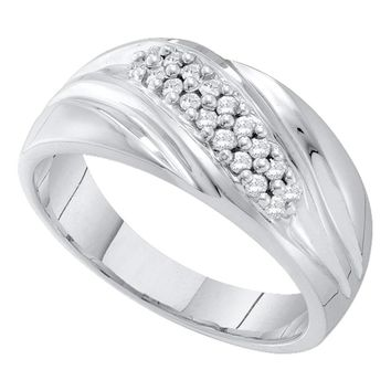 10kt White Gold Mens Round Pave-set Diamond Diagonal Double Row Wedding Band 1/4 Cttw