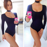 Sexy Slim new autumn long-sleeved leotard