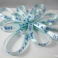 Its a Boy Gift Bow Baby Shower light blue | FadedLeaves - Accessories on ArtFire