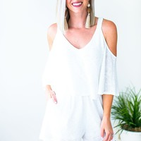 Two Ways Open Knit Off White Romper