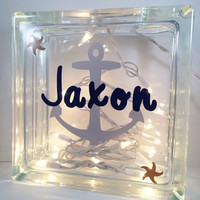 Personalized Glass Block, Glass Block Light, Nautical decor, Baby Shower gifts, Anchor glass block, Name glass blocks, Wedding signs