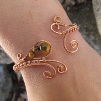 Tigers Eye Copper Wire Bracelet- Brown Beaded Wire Wrapped Cuff- Natural Stone Bangle Bracelet- Handmade Wedding Jewelry