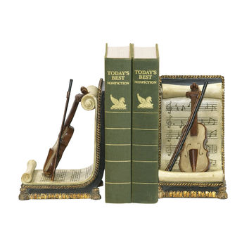 Sterling Pair Of Violin And Music Bookends