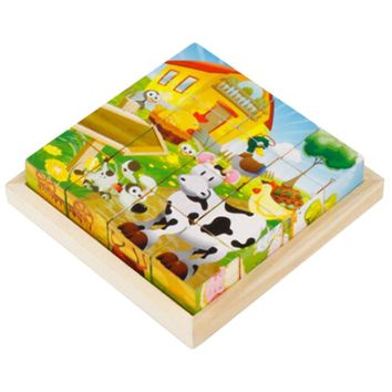 Educational Toy 3D Wooden Puzzle for Kids Cube Puzzle Farm(2 Years and up)