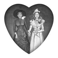 Eros Mageia. Print of two witches holding hands in a heart shaped border.