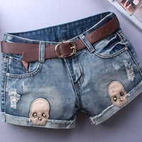 LAUWOO New Woman Sexy Skull Jeans Appliques Ripped Short Women Novelty Design Summer Blue Shorts Club Denim Jeans Without Belt