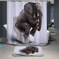 Bathroom Products Polyester Fabric 3D Elephant Printed Shower Curtains Waterproof Washable Curtains 180*180cm,12pcs Hooks
