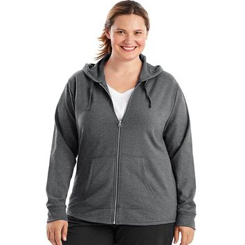 Just My Size French Terry Full-Zip Women's Hoodie Style: OJ243-Charcoal Heather 1X
