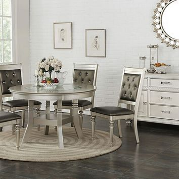 5 pc Silverstry collection silver finish wood round dining table set with glass