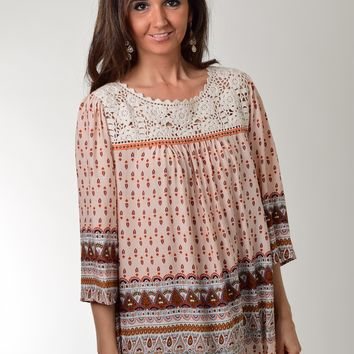 Umgee Crochet Panel Tan Printed Tunic